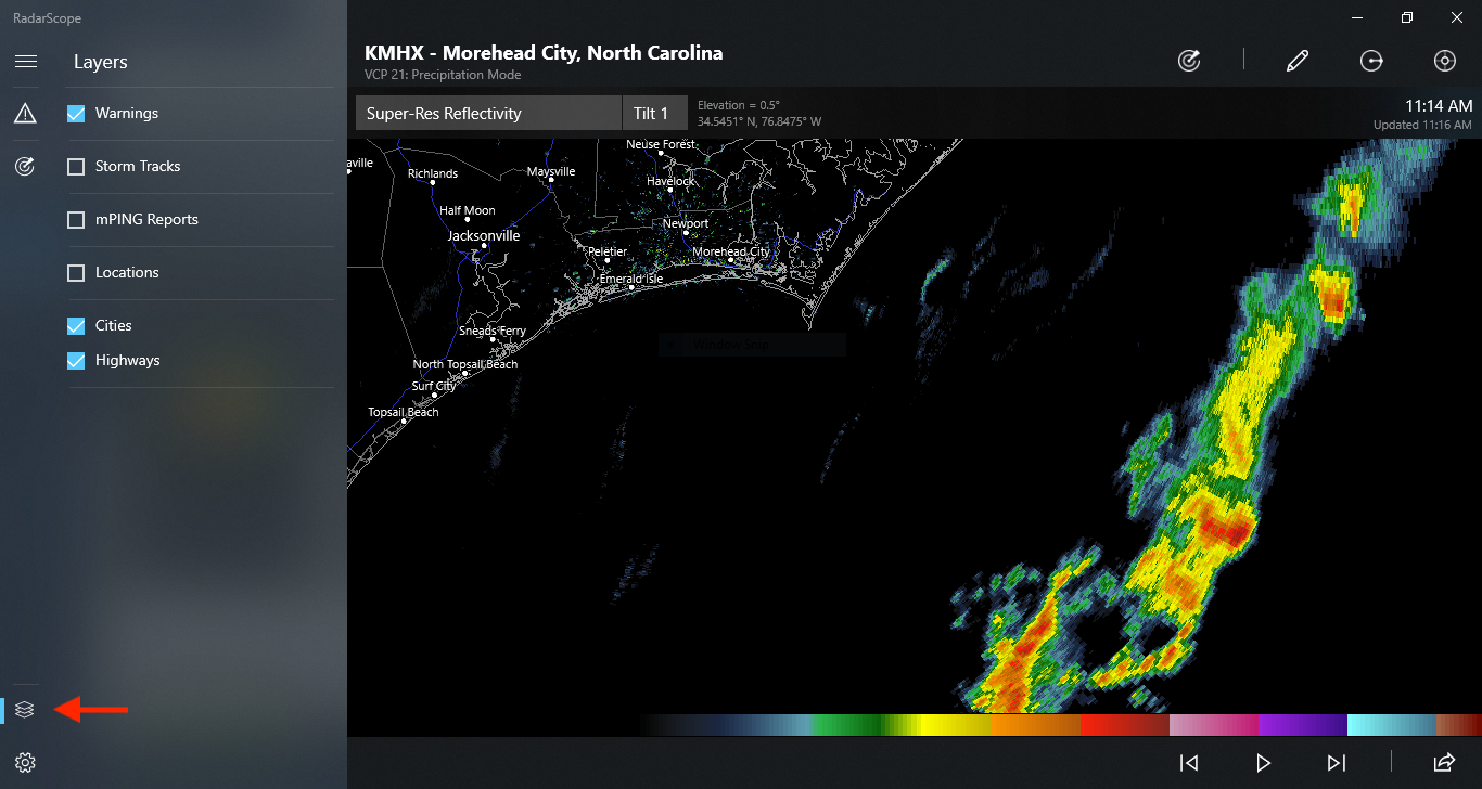 Layers Icon on RadarScope for Windows