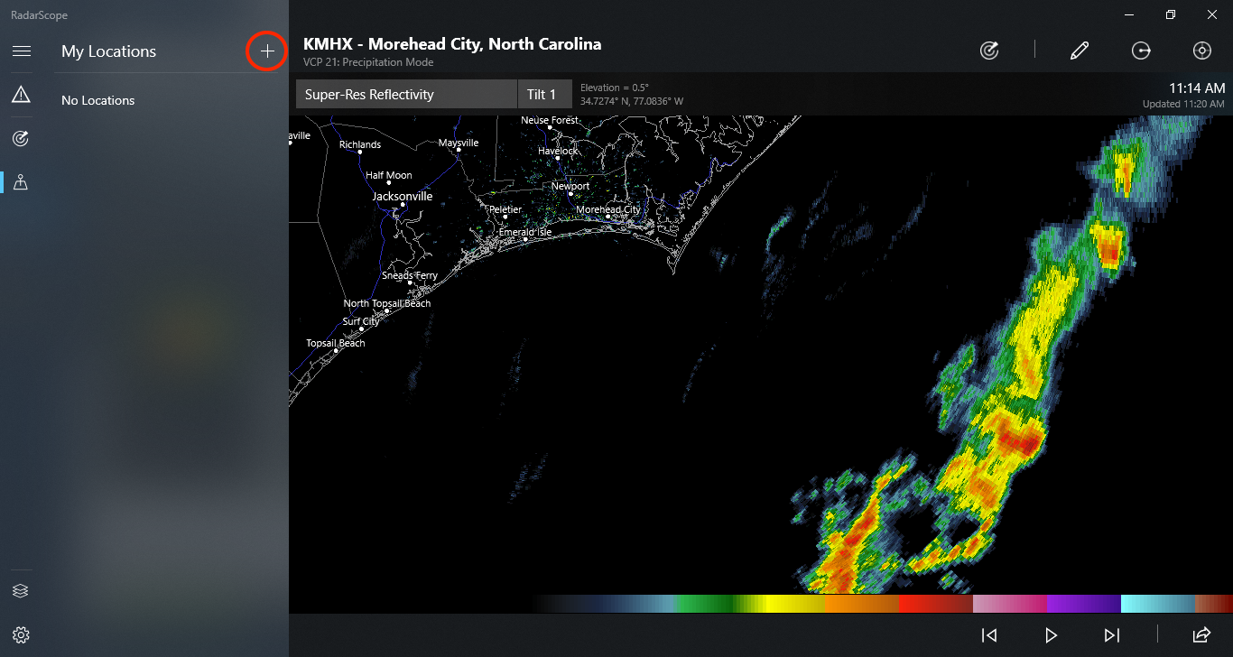 Add Location on RadarScope for Windows