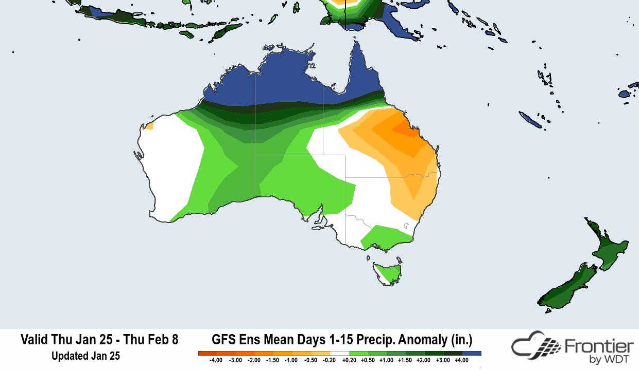Frontier GFS Ens Mean 15-Day Precip Anomaly