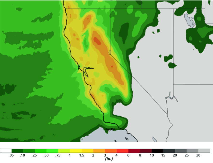 Close-up Forecast of Rain on March 1, 2018