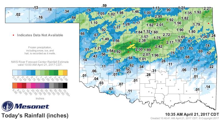 Oklahoma Mesonet Rainfall Totals