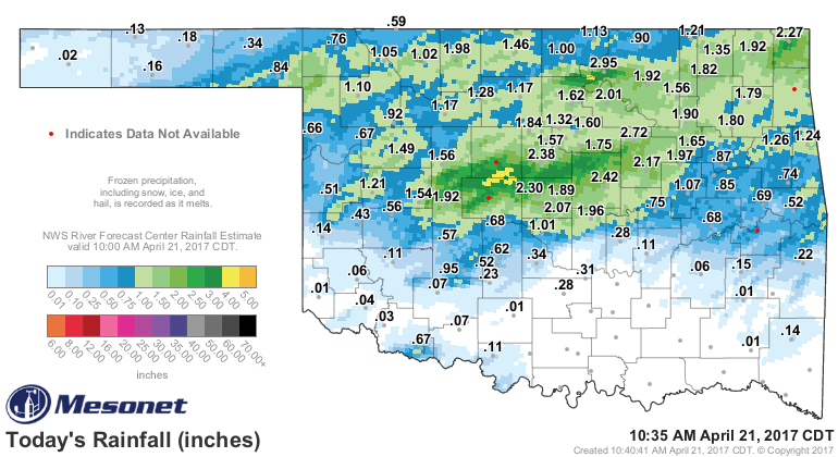 Oklahoma Mesonet Rainfall Totals