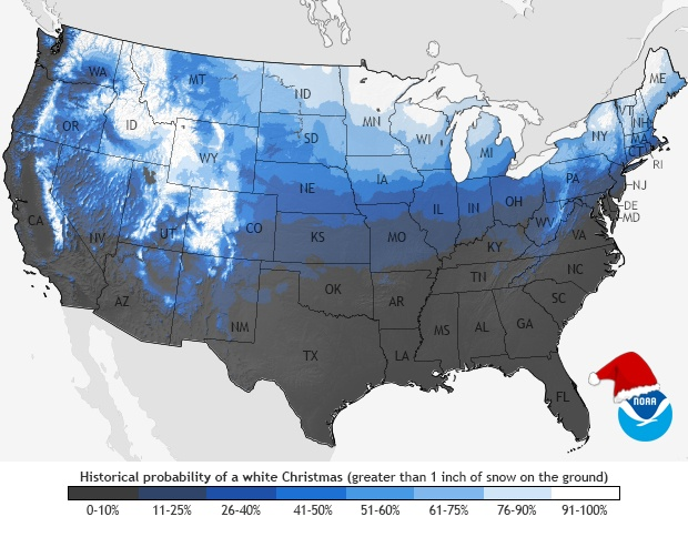 Historical Probability of a White Christmas
