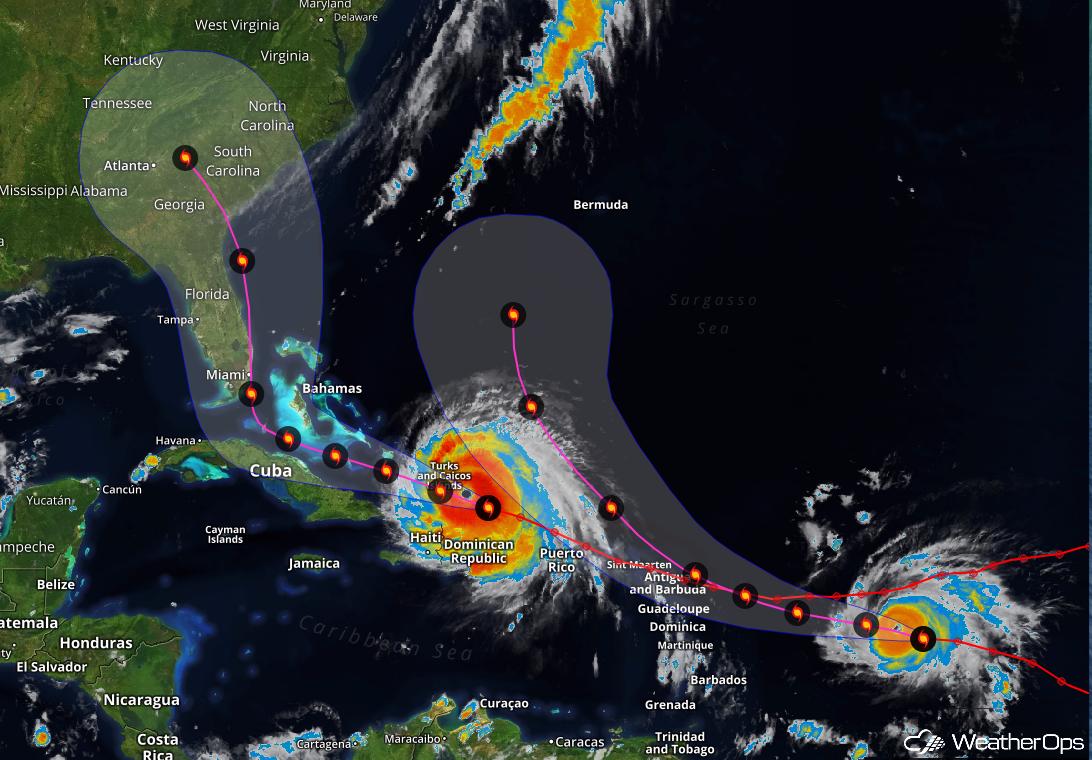 Forecast Cone for Irma and Jose - Sept 7, 2017