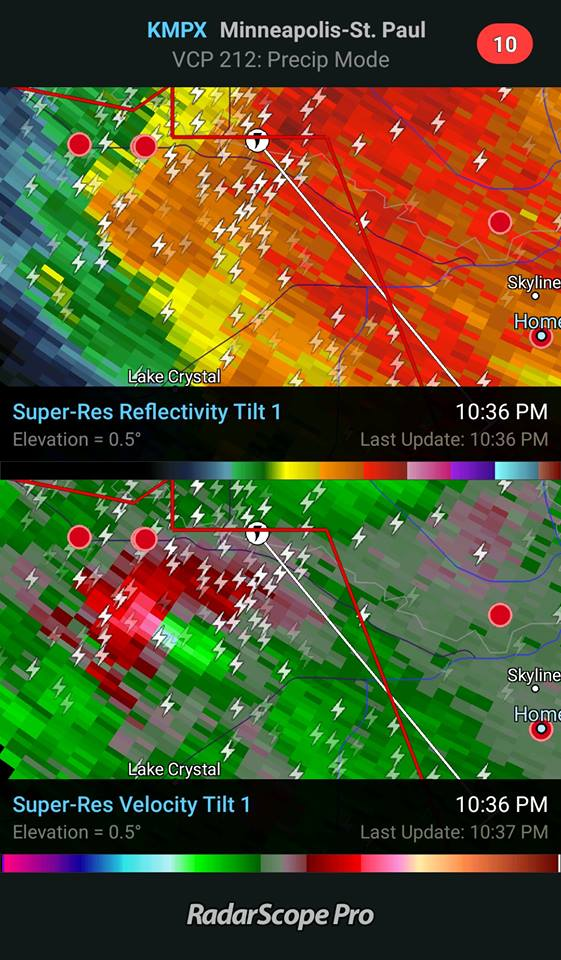 RadarScope Velocity Couplet- Tornado Warning