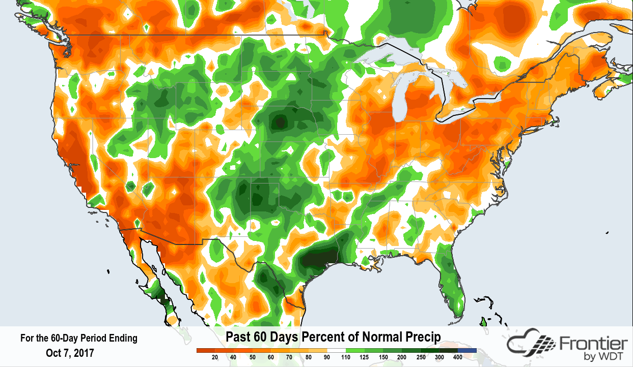 Frontier Weather- Past 60 Days Percent of Normal Precipitation