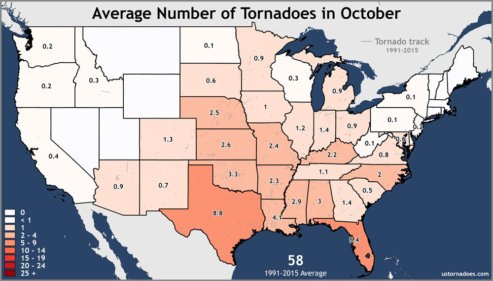Average Number of Tornadoes in October