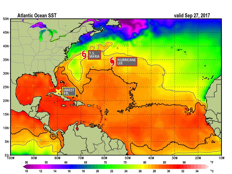 Sea Surface Tempertures -September 27, 2017