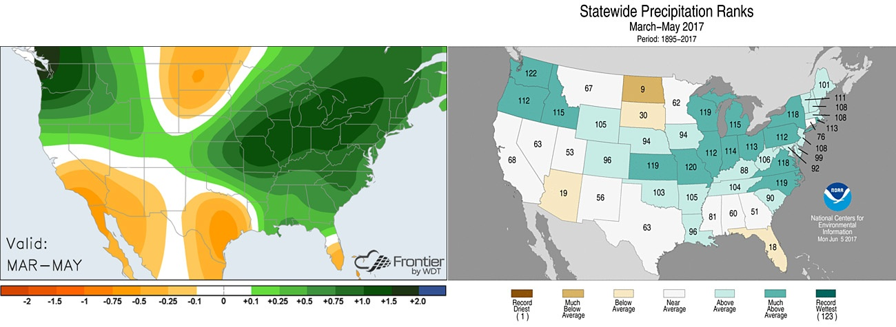 Left: Average precipitation anomalies across the US. Right: State precipitation rankings