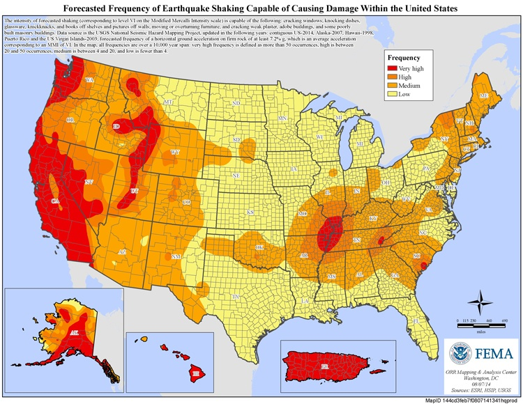 Wheres the best place to live to avoid natural disasters forecasted frequency of earthquake shaking capable of causing damage publicscrutiny Gallery
