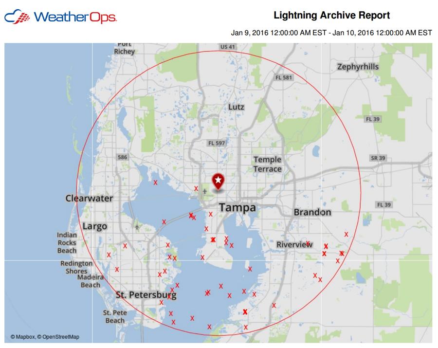 Lightning Strikes in Tampa near Raymond James Stadium