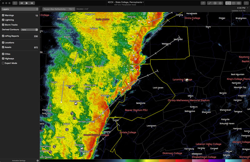 Appearance of WeatherOps Assets in RadarScope for Macs