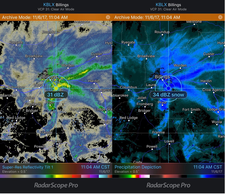 Billings, MT Reflectivity and Precipitation Depiction