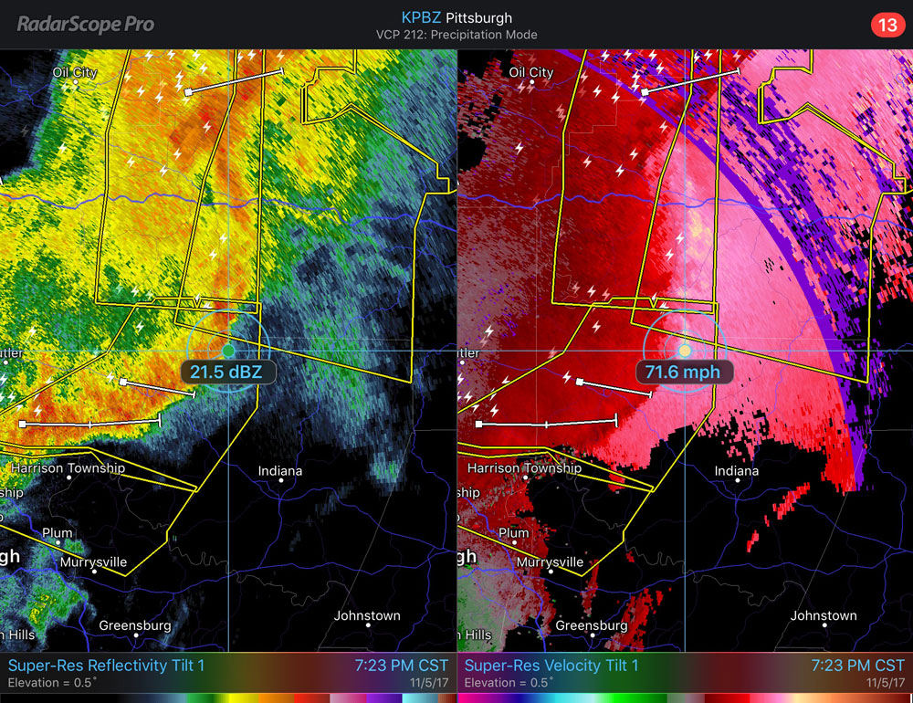 Bow Echo with Wind Speeds Located North of Pittsburgh on November 5, 2017