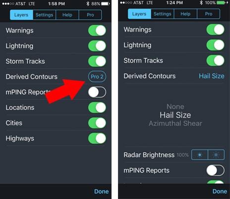Choose Hail or Shear Contour on RadarScope