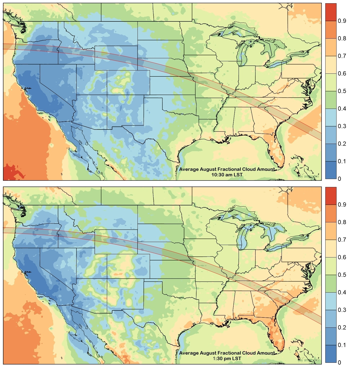 Average Cloudiness Across US
