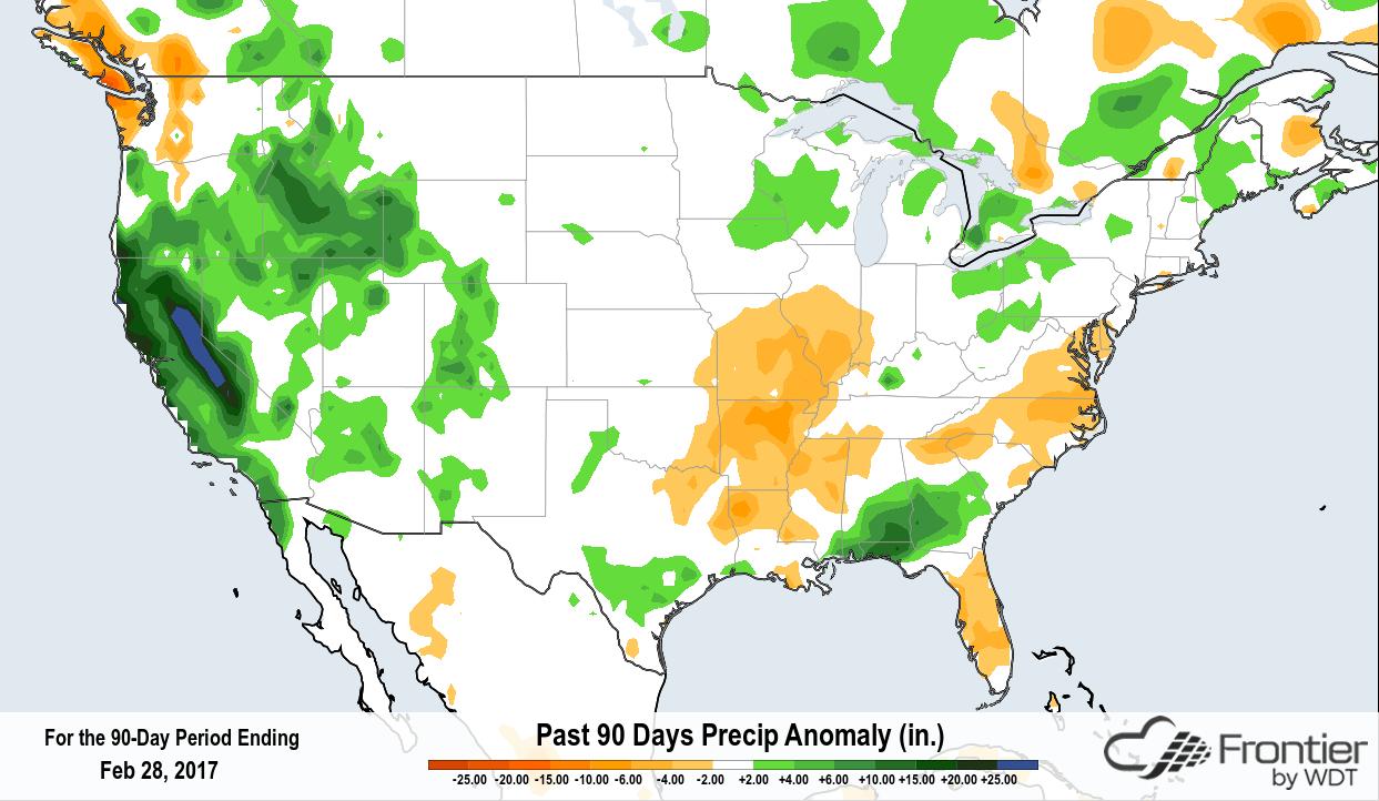 Past 90 Days of Precipitation Anomaly