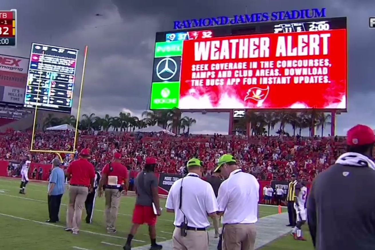 Raymond James Stadium Lightning Alert