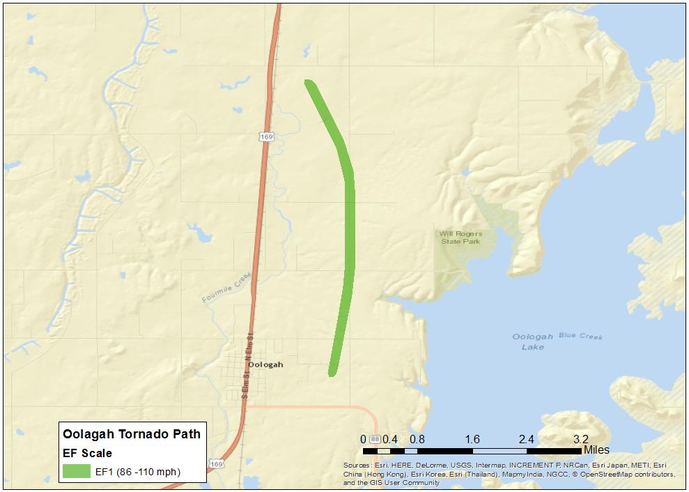 Oolagah Tornado Path