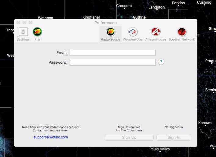 Registering RadarScope Tier 2 on a Mac