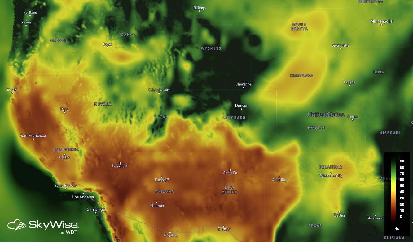 SkyWise Relative Humidity - October 9, 2017