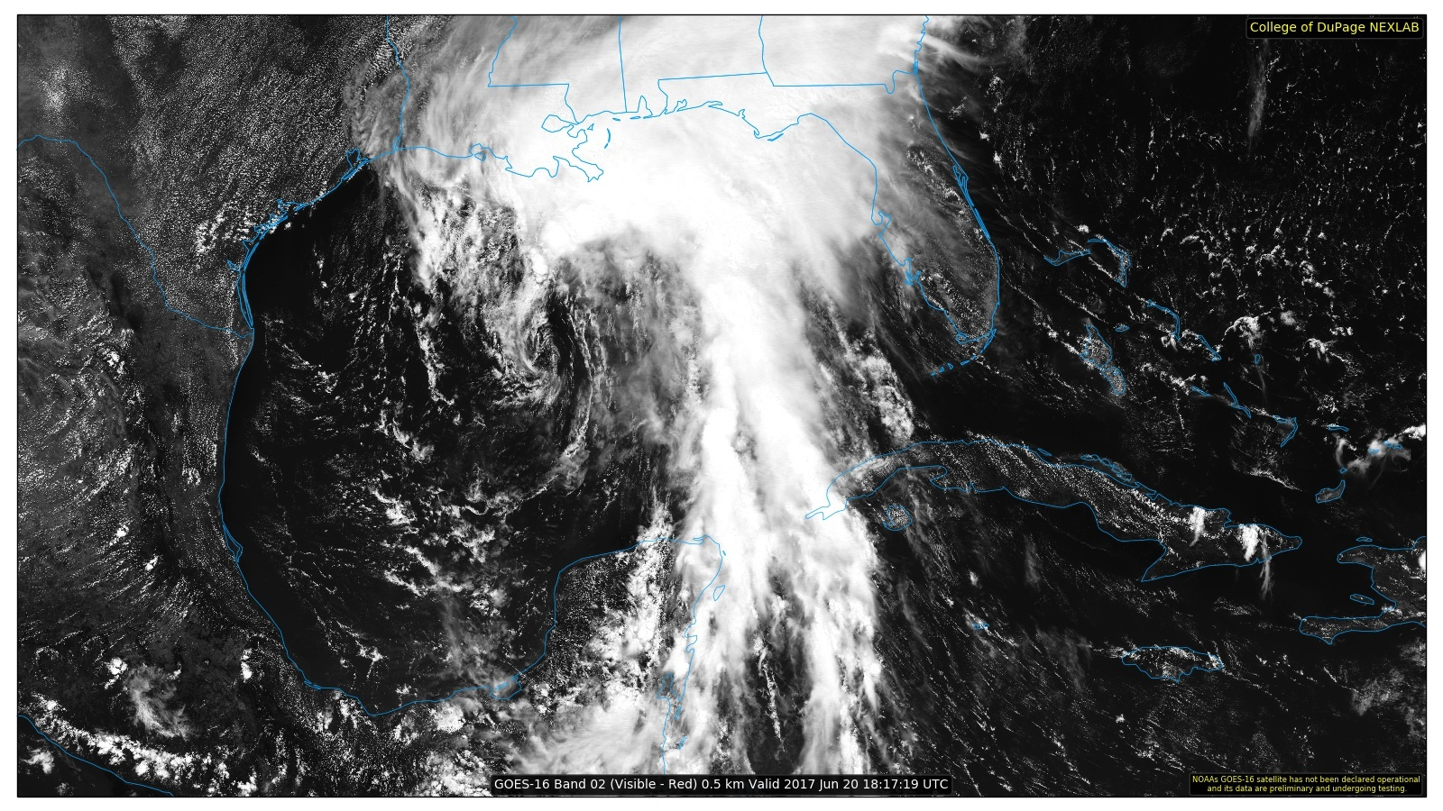 Visible Satellite of Tropical Storm Cindy, June 20, 2017