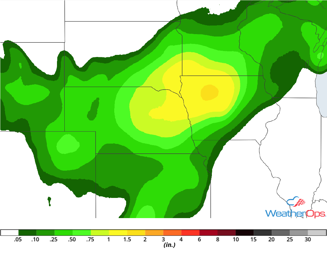 Rainfall Accumulation for Monday, July 2, 2018