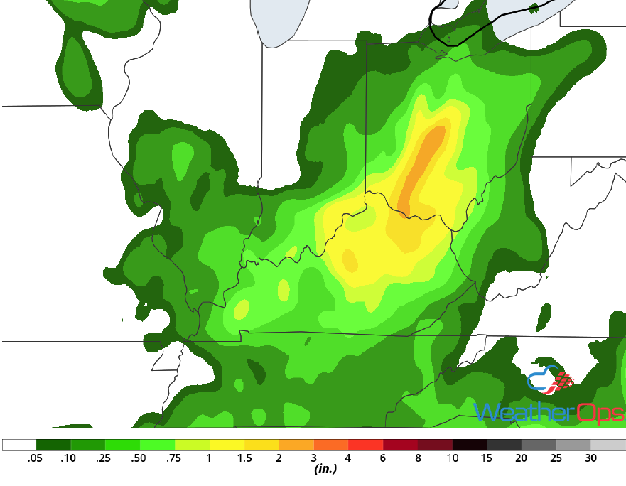 Rainfall Accumulation for Tuesday, June 12, 2018