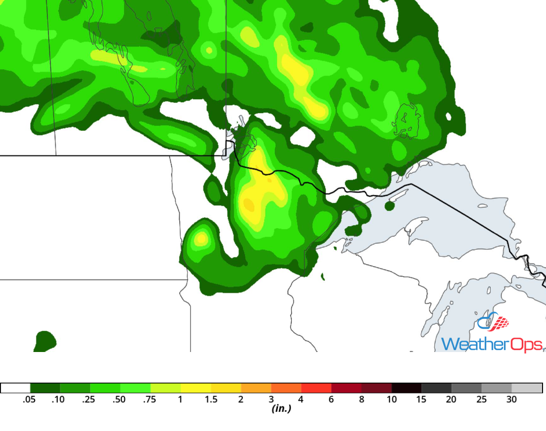 Rainfall Accumulation for Wednesday, July 11, 2018