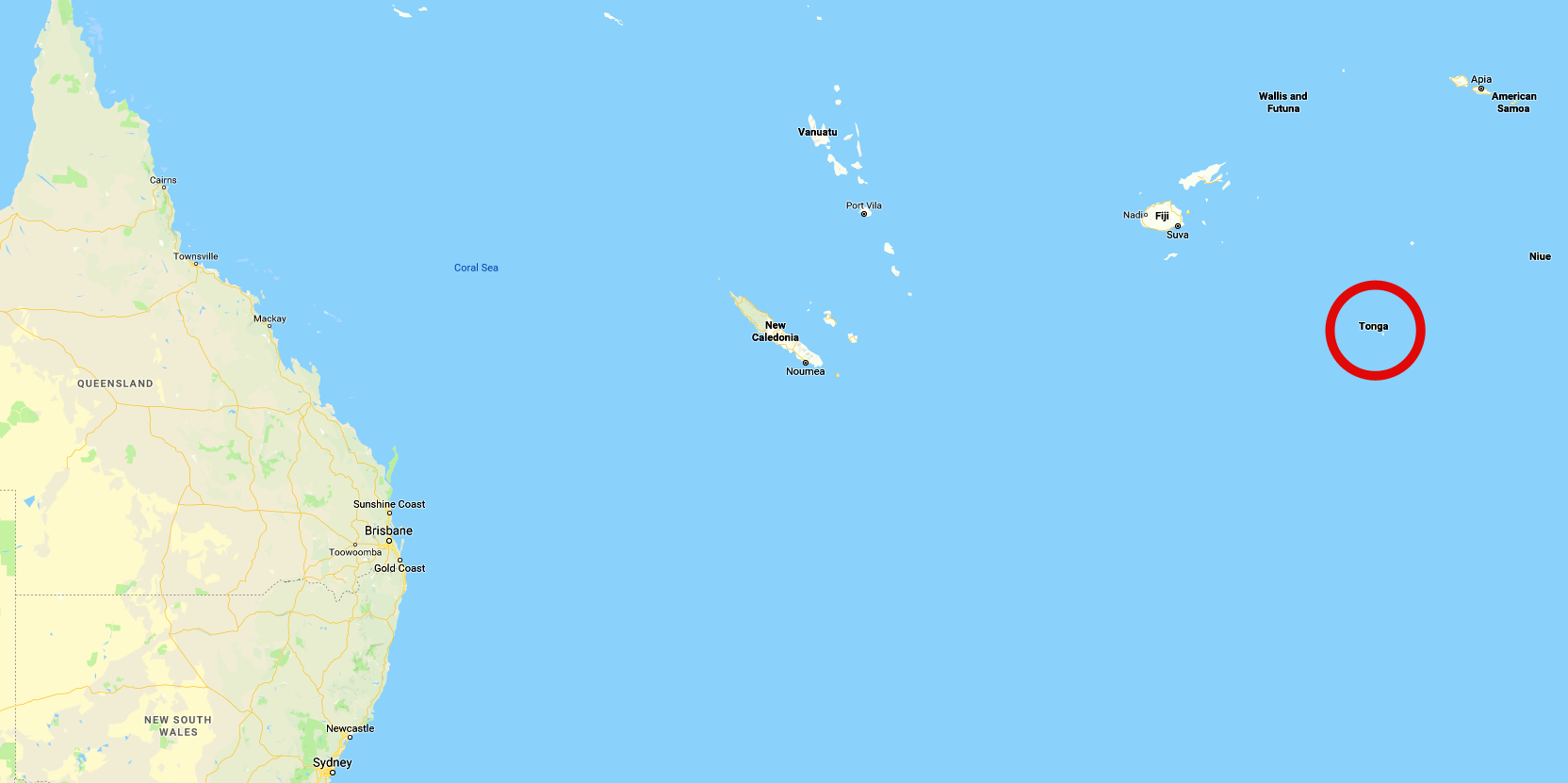 Location of Tonga