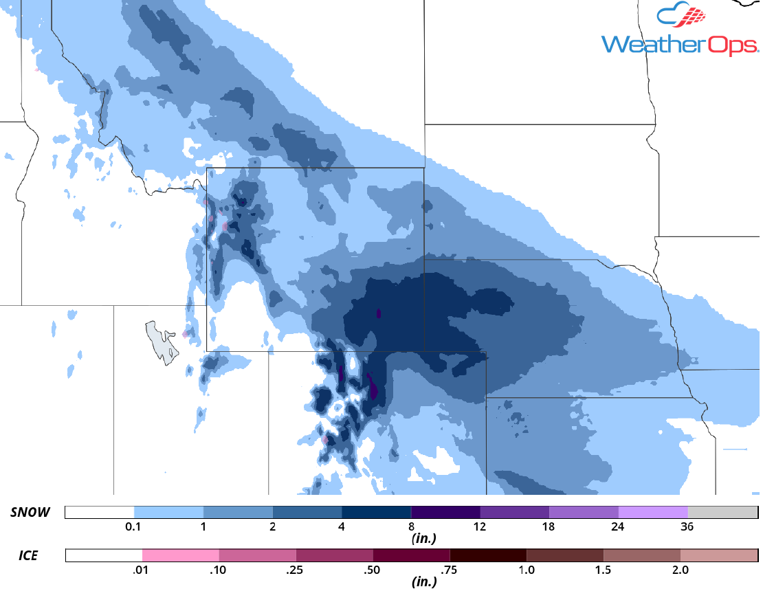 Snow Accumulation for Friday, April 6, 2018
