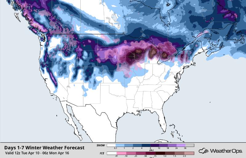 Snow Accumulation through April 15