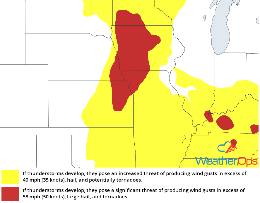 Thunderstorm Risk for Monday, June 11, 2018