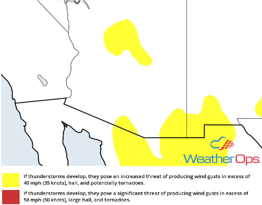 Thunderstorm Risk for Monday,,July 9, 2018